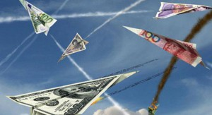 currency war china and US paper airplanes